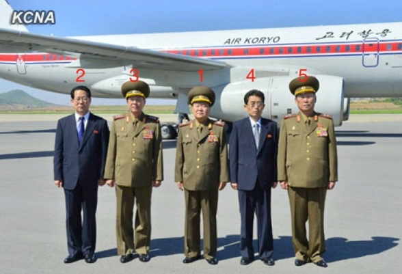 """VMar Choe Ryong, Director of the KPA General Political Department and Member of the KWP Political Bureau Presidium, poses for a commemorative photograph at Pyongyang Airport on 22 May 2013, prior to his departure to Beijing as a """"special envoy"""" of DPRK leader Kim Jong Un.  Members of Choe's delegation to China are: Kim Hyong Jun (2) of the DPRK Foreign Ministry, Col. Gen. Ri Yong Gil (3) of the KPA General Staff, Kim Song Nam (4) of the KWP International Affairs Department and Lt. Gen. Kim Su Gil of the KPA (Photo: KCNA)."""
