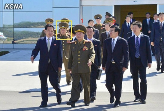 Gen. Kim Kyok Sik (annotated in a yellow box) was part of a group that saw off VMar Choe Ryong Hae (1) and a senior DPRK delegation on a trip to China at Pyongyang Airport on 22 May 2013.  Also seen in attendance is PRC Ambassador to the DPRK Liu Hongcai (2) (Photo: KCNA)