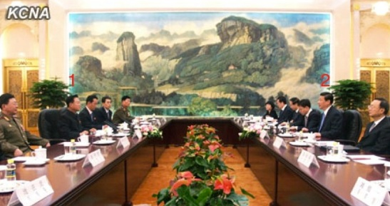 Choe Ryong Hae (1) and a senior DPRK delegation meet with Chinese President Xi Jinping (2) and senior Chinese officials at the Great Hall of the People in Beijing on 24 May 2013 (Photo: KCNA)