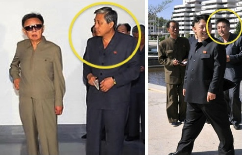 KWP Deputy Department Director Ma Won Chun (annotated) attends a tour by Kim Jong Il in Wo'nsan Province in August 2009 (L) and attends Kim Jong Un's visit to Songdowon International Children's Camp in May 2013 (Photos: KCNA-Yonhap, Rodong Sinmun).