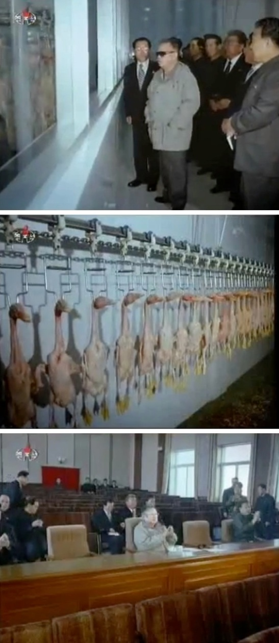 Late DPRK supreme leader Kim Jong Il visits the Tudan Duck Farm in October 2011 (Photos: KCTV screengrabs)