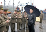 Kim Jong Un (1) talks with senior KPA officials prior to touring a fishing boat during a visit to the fishery station of KPA Unit #313.  Also seen in attendance are Chief of the Chief of the KPA General Staff Operations Bureau Col. Gen. Ri Yong Gil (2), Chief of the KPA General Staff Gen. Kim Kyok Sik (3) and Director of the KPA General Political Department VMar Choe Ryong Hae (4) (Photo: Rodong Sinmun).