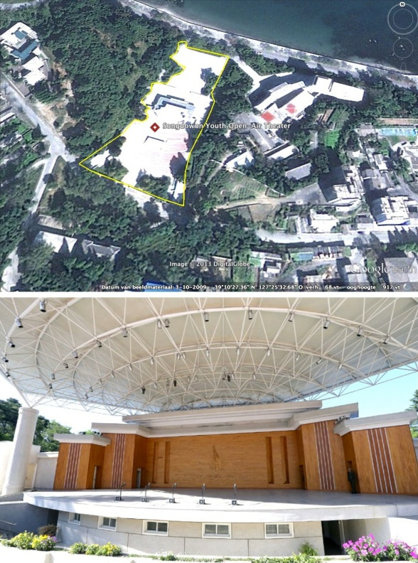 Songdowon Youth Open Air Theater in Wo'nsan, Kangwo'n Province (Photos: Google image, Rodong Sinmun).