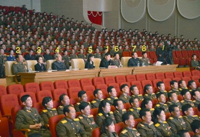 Kim Jong Un (1) watches a performance of the KPISF Song and Dance Ensemble with his wife Ri Sol Ju (5).  Also in attendance are Col. Gen Choe Pu Il (2), Kim Kyong Hui (3), Kim Kim Ki Nam (4), VMar Choe Ryong Hae (6), Jang Song Taek (7) and Gen. Jang Jong Nam (8).  Gen. Jang Jong Nam was recently appointed Minister of the People's Armed Forces and this was his first observed public appearance since his appointment.  (Photo: Rodong Sinmun)
