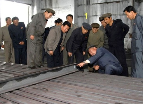 DPRK Premier Pak Pong Ju (1) examines production at the Hwanghae Iron and Steel Complex (Photo: Rodong Sinmun)