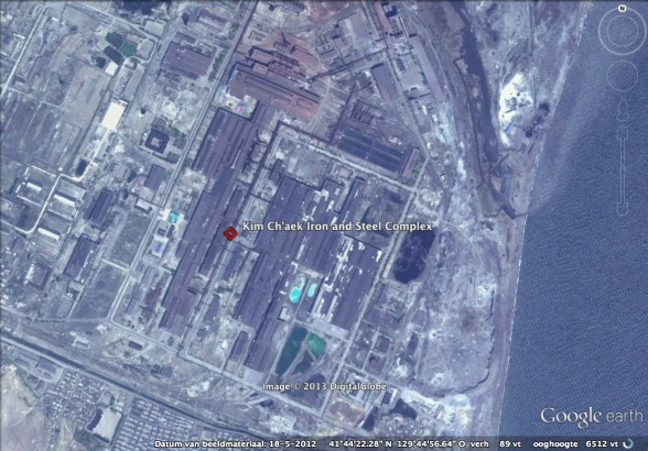 Kim Ch'aek Iron and Steel Complex in Ch'o'ngjin, North Hamgyo'ng Province (Photo: Google image).