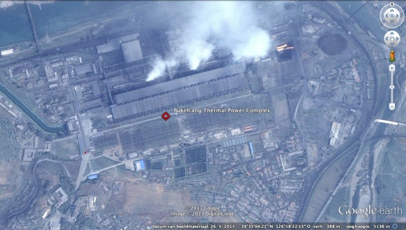 Overview of the Puk'chang Thermal Power Complex in Pukch'ang County, South P'yo'ngan Province (Photo: Google image)