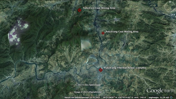 Overview of the Pukch'ang Thermal Power Complex, and the Pukch'ang Area and To'kch'o'n Area Coal Mine Complexes (Photo: Google image)