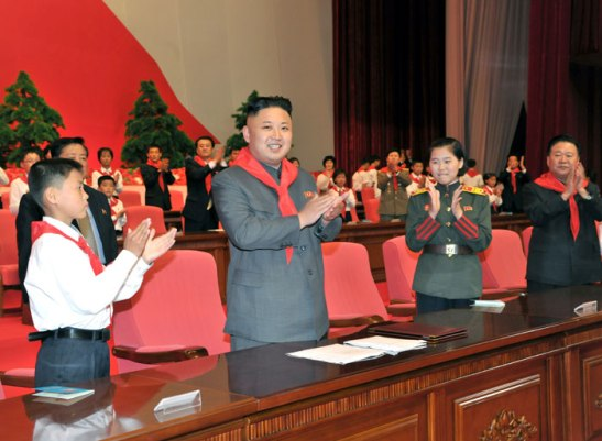 Kim Jong Un (2nd L) applauds during the Korean Children's Union's 7th Congress held in Pyongyang on 6 June 2013 (Photo: Rodong Sinmun)