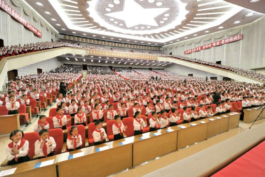 Participants in the 7th Congress of the Korean Children's Union, held at the 25 April House of Culture in Pyongyang on 6 June 2013 (Photo: Rodong Sinmun).