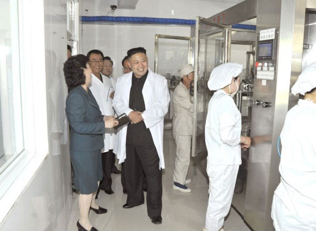 Kim Jong Un grins whilst touring a section of the Ch'angso'ng Foodstuffs Factory (Photo: Rodong Sinmun).