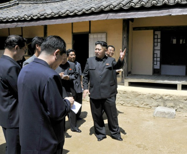 Kim Jong Un (R) tours the Ch'angso'ng Revolutionary Site in Ch'angso'ng County, North P'yo'ngan Province (Photo: Rodong Sinmun).