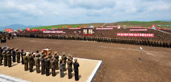 Army-People meeting held at Sep'o Tableland Project on 13 June 2013  in support of the Masikryo'ng Speed Battle (Photo: Rodong Sinmun)