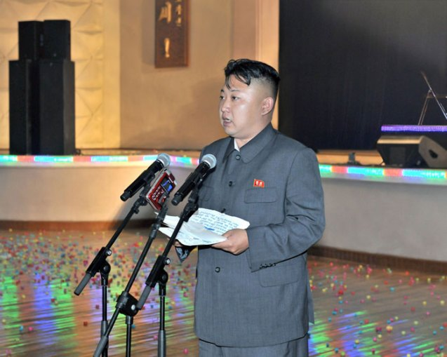 Kim Jong Un delivers a speech to workers in Chagang Province (Photo: Rodong Sinmun).