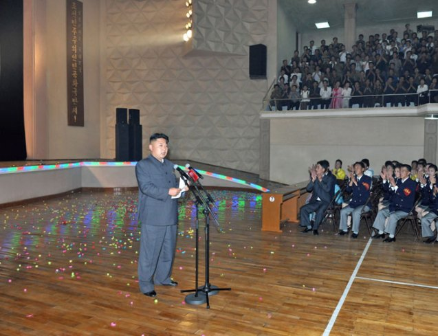 Kim Jong Un delivers a speech after a Moranbong Band concert for workers in Chagang Province (Photo: Rodong Sinmun).