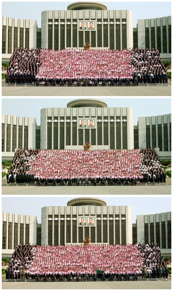 Kim Jong Un and senior Kim Il Sung Youth League officials pose for commemorative photographs with participants of the 7th Congress of the Korean Children Union in front of the Mangyo'ngdae Schoolchildren's Palace in Pyongyang on 6 June 2013 (Photos: Rodong Sinmun)