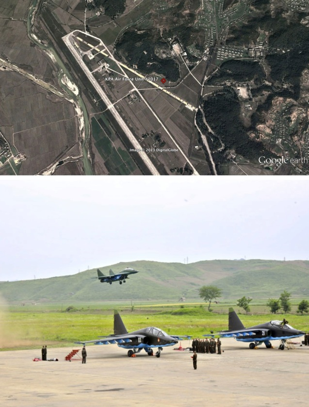 KPA Air Force Unit #1017 (Photos: Google image and Rodong Sinmun)