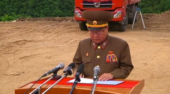 "VMar Choe Ryong Hae, Director of the KPA General Political Department, speaks at a meeting in support of the ""Masikryong Speed"" battle in Kangwo'n Province on 5 June 2013"