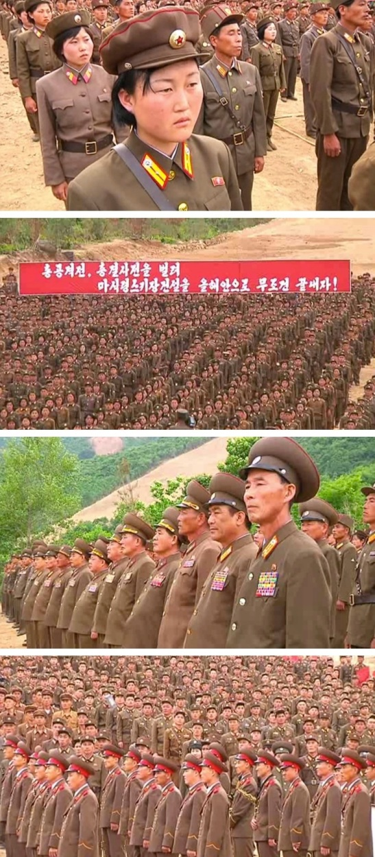 "KPA officers and servicemembers attend a 5 June 2013 meeting in Kangwo'n Province in support of the ""Masikryong Speed"" battle initiated by DPRK leader Kim Jong Un (Photos: KCNA screengrabs)."