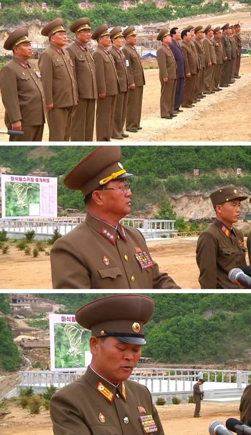 "Senior officials attend and speak at a KPA meeting in support of the ""Masikryong Speed"" battle for economic construction on 5 June 2013, including Minister of the People's Armed Forces Jang Jong Nam (middle image) (Photos: KCNA screengrabs)"