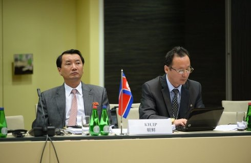 The DPRK delegation of the Ministry of Railways attends the opening session of the 41st Ministerial Meeting of the Organization for the Cooperation of Railways in Talinn, Estonia on 11 June 2013 (Photo: Tanel Meos/Ärilehe).