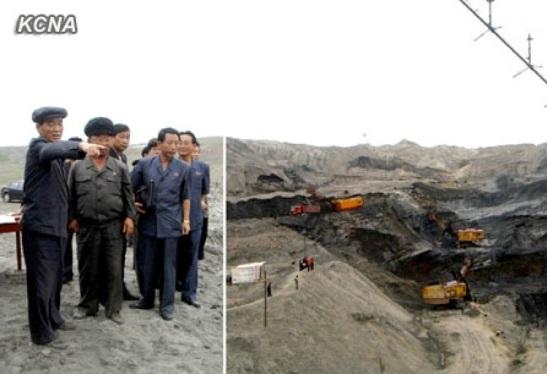 DPRK Premier Pak Pong Ju (L), tours a coal mine (Photo: KCNA).