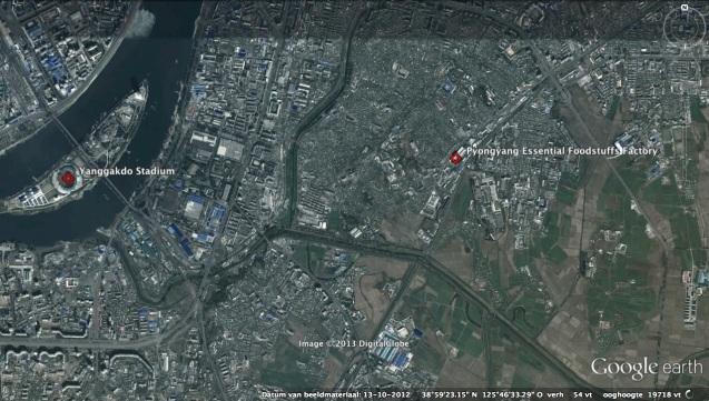 View of Yanggakdo Stadium and the Pyongyang Essential Foodstuffs Factory (Photo: Google image).