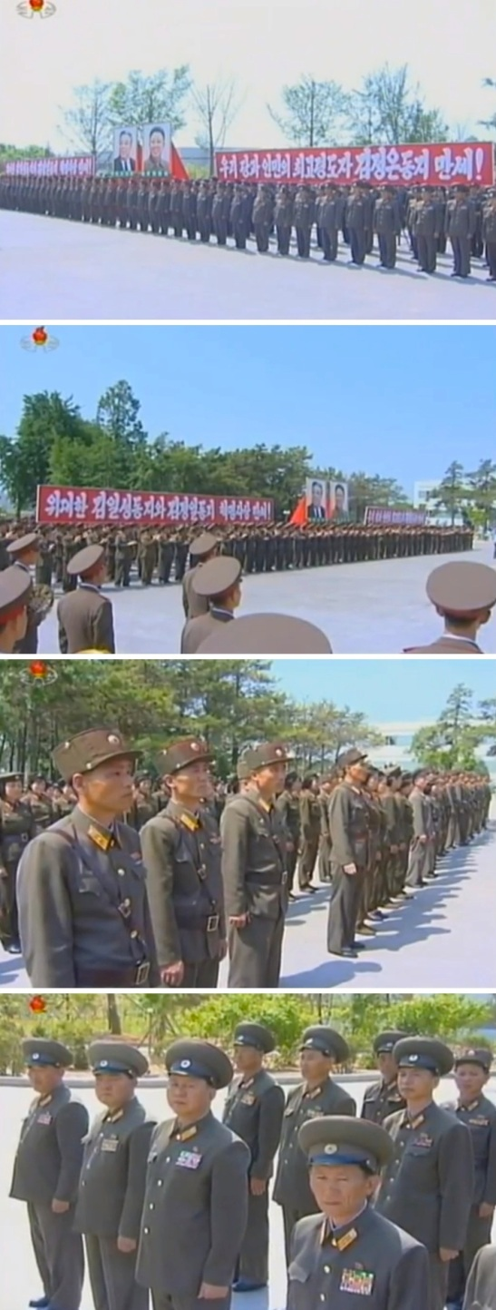View of KPA service members and officers attending a 10 June 2013 ceremony to dedicate an autograph tablet sent by DPRK leader Kim Jong Un (Photos: KCTV screengrabs)