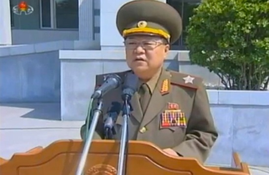 VMar Choe Ryong Hae, Director of the KPA General Political Department, delivers a speech dedicating a tablet bear the autograph of DPRK leader Kim Jong Un during a ceremony in Pyongyang on 10 June 2013 (Photo: KCTV screengrab).