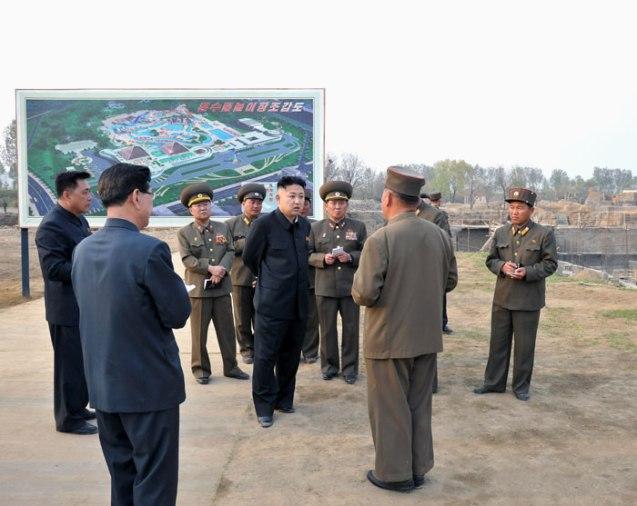 Kim Jong Un tours the construction of the Munsu Wading Pool in Pyongyang in May 2013 (Photo: Rodong Sinmun).
