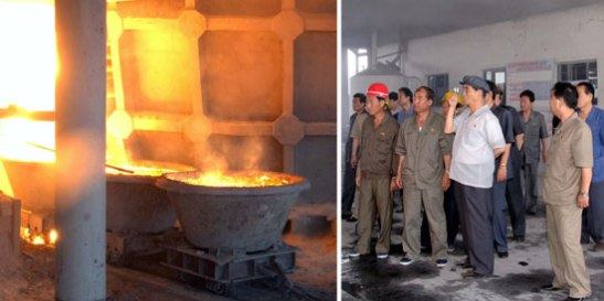 DPRK Premier Pak Pong Ju views a production sector at Sunch'o'n Chemical Complex in Sunch'o'n, South P'yo'ngan Province (Photo: Rodong Sinmun).
