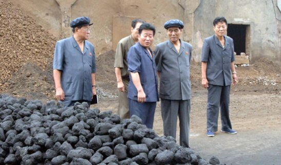 DPRK Premier Pak Pong Ju (2nd R) is briefed about production at the briquette section of the Hwanghae Iron and Steel Complex in Songnim, North Hwanghae Province (Photo: Rodong Sinmun).