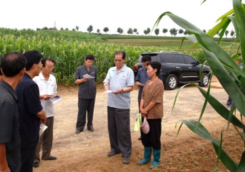 DPRK Premier Pak Pong Ju (2nd R) issues instructions during a tour of a cooperative farm in South Hwanghae Province (Photo: Rodong Sinmun).