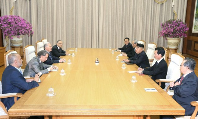 Kim Jong Un and senior DPRK officials meet with a  Syrian delegation in Pyongyang on 24 July 2013.  The Syrian delegation arrived earlier in the day to participate in events commemorating the 60th anniversary of the end of active hostilities of the Fatherland Liberation War (Korean War) (Photo: Rodong Sinmun).