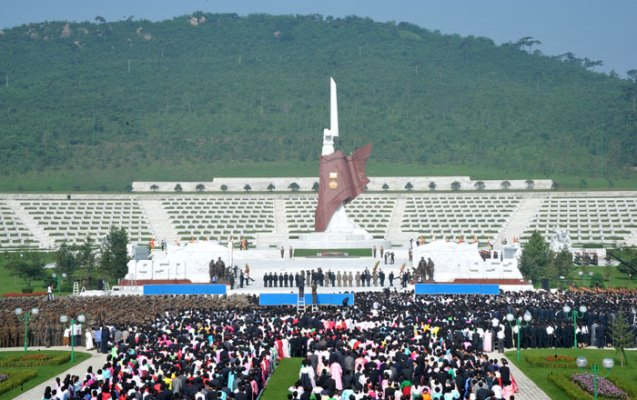 View of the Fatherland Liberation War Martyrs Cemetery in Pyongyang during a ceremony which formally opened the cemetery on 25 July 2013 (Photo: Rodong Sinmun).