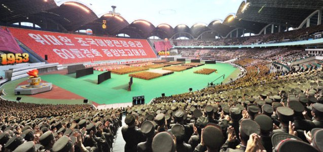 A view of the national meeting commemorating the 60th anniversary of the termination of the Korean War's active hostilities at May Day Stadium in Pyongyang on 26 July 2013 (Photo: Rodong Sinmun).
