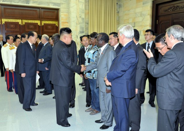 Kim Jong Un and members of the DPRK's core leadership greet the heads of foreign government and military delegation visiting the DPRK for events commemorating the 60th anniversary of the termination of the Korean War's active hostilities (Photo: Rodong Sinmun).