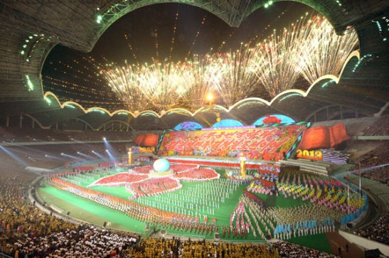 View of the Arirang performance at Kim Il Sung Stadium in Pyongyang on 26 July 2013.  The DPRK's mass games, which were cited by the Guinness Book of World Records, derive from 19th century Czech nationalist events (Photo: Rodong Sinmun).