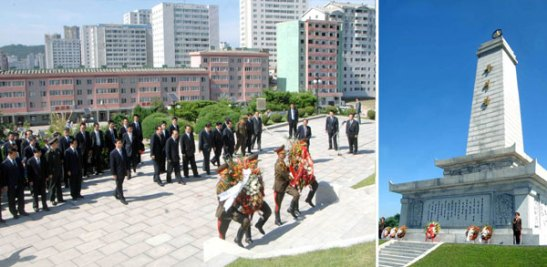 PRC Vice President Li Yuanchao and a Chinese delegation, along with senior DPRK officials, DPRK citizens and personnel from the Chinese Embassy (L) attend a wreath laying ceremony at the Friendship Tower (R) in Pyongyang on 26 July 2013 (Photo: Rodong Sinmun).