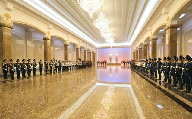A Korean People's Army honor guard representing the KPA's three service branches and the Worker-Peasant Red Guard line the chamber containing the statues of Kim Il Sung and Kim Jong Il in the Ku'msusan (Memorial) Palace of the Sun in Pyongyang on 27 July 2013 (Photo: Rodong Sinmun).