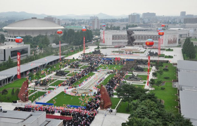 Overview of the Victorious Fatherland Liberation War (Korean War) monument park and VFLW Museum in Pyongyang on 27 July 2013, the venue for a ceremony opening the renovation of the museum and monument park (Photo: Rodong Sinmun).