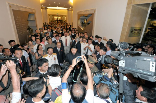 Kim Jong Un, senior DPRK officials, war veterans and invited guests tour the renovated Victorious Fatherland Liberation War Museum in Pyongyang on 27 July 2013.  An alternate view of Kim Jong Un's tour of the museum was captured by an Associated Press photographer (Photo: Rodong Sinmun).