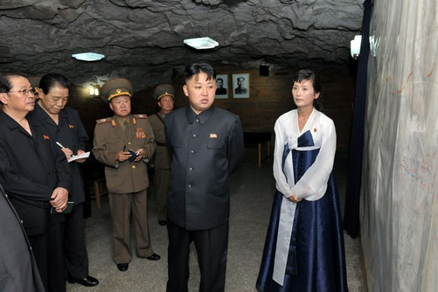 Kim Jong Un (2nd R) visits a room at the Songhung Revolutionary Site on 29 July 2013.  Also seen in attendance are NDC Vice Chairman Jang Song Taek (L), KWP Organization Guidance Department Senior Deputy Director Kim Kyong Ok (2nd R) and Director of the KPA General Political Department VMar Choe Ryong Hae (3rd R) (Photo: Rodong Sinmun).