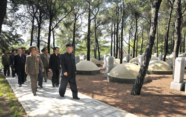 Kim Jong Un walks through the Chinese People's Volunteers' Martyrs' Cemetery in Hoech'ang County, South P'yo'ngan Province on 29 July 2013 (Photo: Rodong Sinmun).