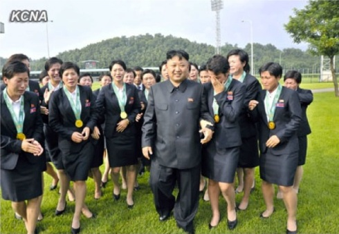 Kim Jong Un walks with women soccer players who won the East Asia Football Federation Cup (Photo: KCNA).
