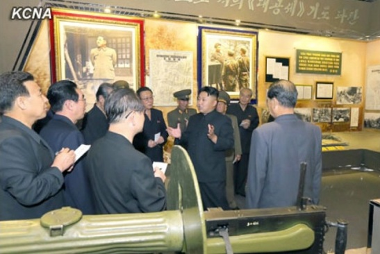 Kim Jong Un talks to senior party and government officials during a tour of the renovated Victorious Fatherland Liberation War Museum in Pyongyang (Photo: KCNA)