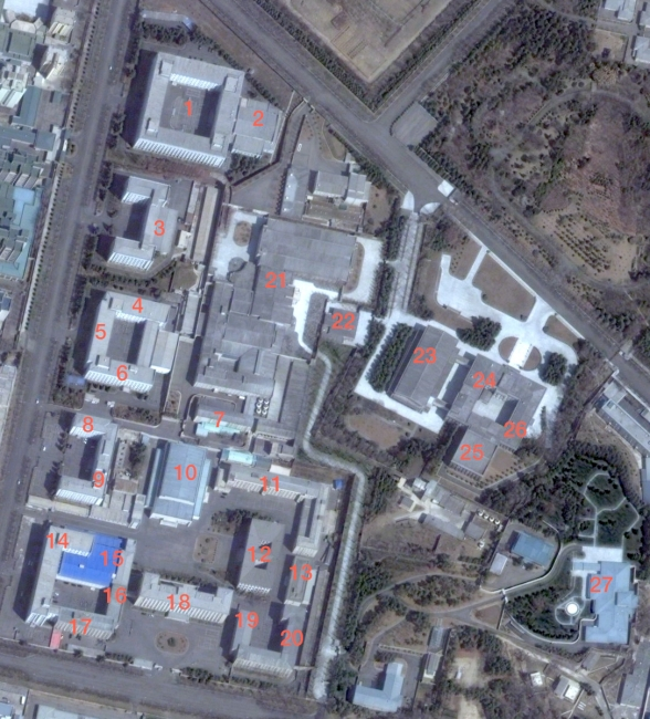 A 15 April 2012 satellite image shows the Korean Workers' Party Central Committee Office Complex #1 in central Pyongyang.  RFA, according to anonymous sources, reports that a new Department of the Economy was established in June 2013 to manage economic policies and personnel.  The departments mentioned in this posting that are seen in this image are: the Organization Guidance Department (1) the Propaganda and Agitation Department (2) the Administration Department (7), Economic Policy Control and Finance and Planning Departments (14), Office #39 (15), Office #38 (16), the Machine-Building Industry Department (17), the Light Industry Department (19) and the Finance and Accounting Department (20) (Photo: Digital Globe).