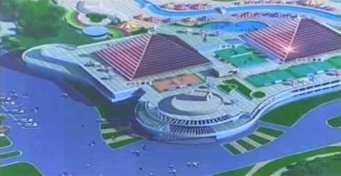 Twin pyramids which are part of the design for the Munsu Wading Pool in Pyongyang (Photo: KCTV/KCNA screengrab).