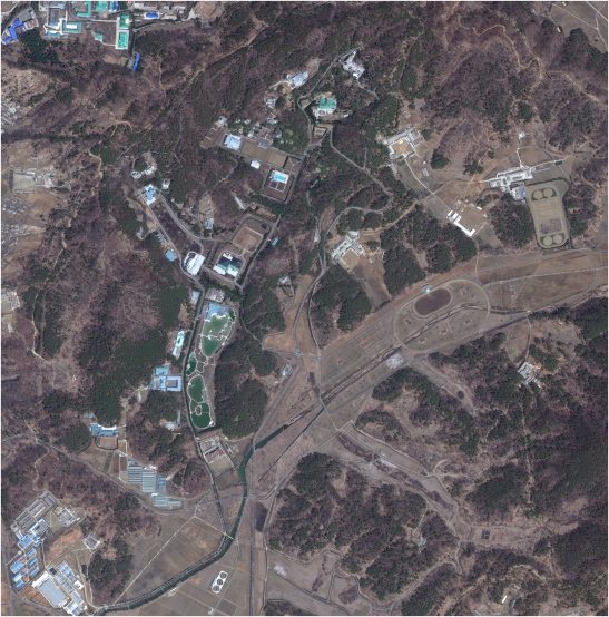 An April 2012 satellite image showing the Ryo'ngso'ng, or Su'ngbo'p, Residential Compound in the northern outskirts of Pyongyang.  This is one of the 10 major VIP compounds inhabited by members of the Kim Family, including late leader Kim Jong Il and his son Kim Jong Un and other DPRK elites (Photo: Digital Globe).
