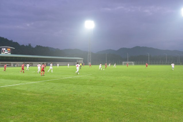 A football (soccer) match between the Hwaebul Team, of the Kim Il Sung Socialist Youth League Central Committee, and the 25 April Team, of the Korean People's Army (Photo: Rodong Sinmun).